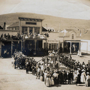 Residents of Bodie gather for a hand-drilling contest held on the 4th of July.