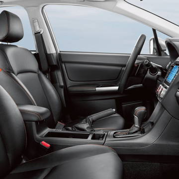 2016 Subaru Crosstrek interior features include available leather-trimmed upholstery
