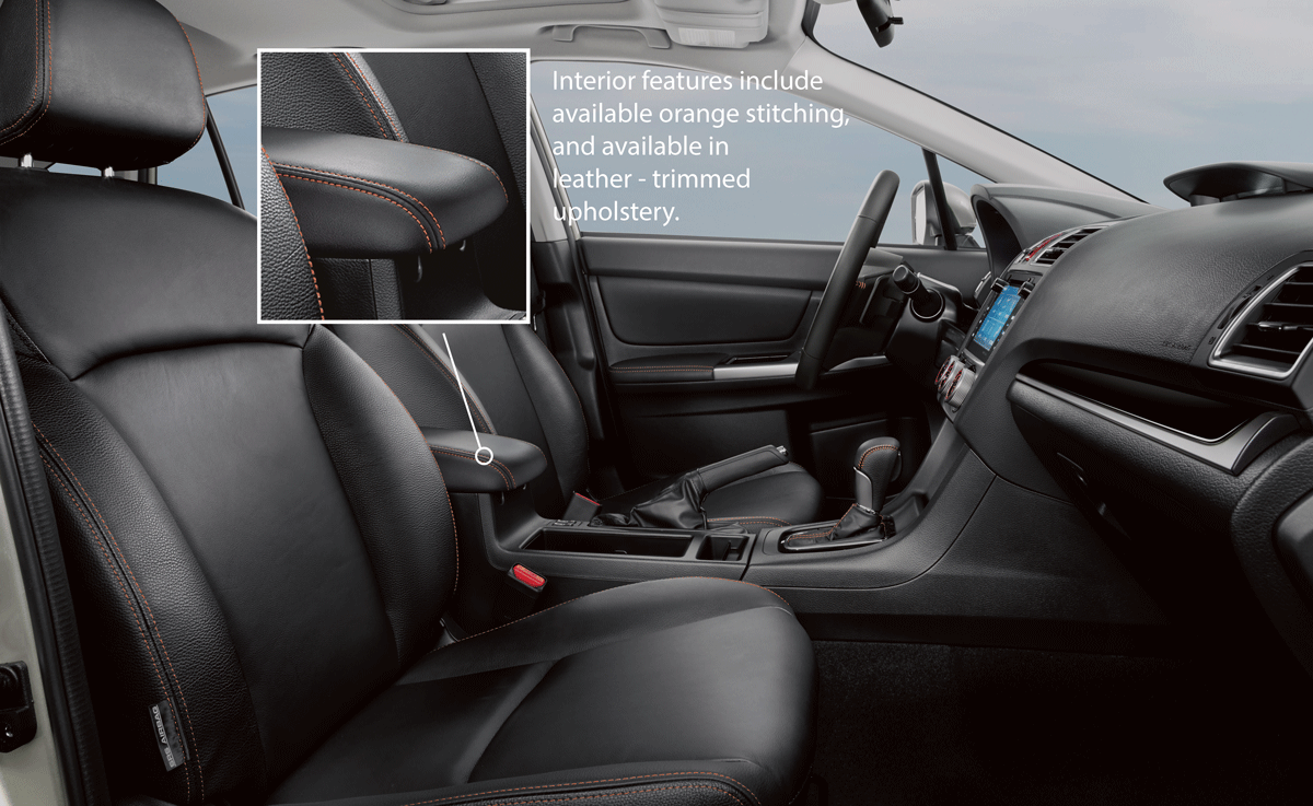 2016 Subaru Crosstrek Interior Features Include Available Leather Trimmed Upholstery