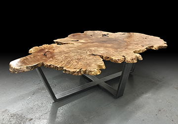Kruger's Burl Coffee Table made from salvaged fallen maple trees.