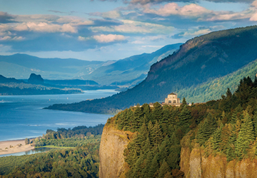 Overlooking the Vista House and the Columbia River Gorge.