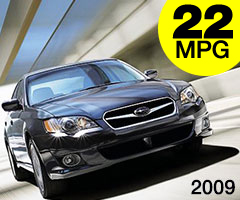 2009 Subaru Legacy AWD 22 mpg combined city/highway