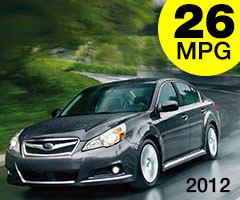 2012 Subaru Legacy AWD 26 mpg combined city/highway