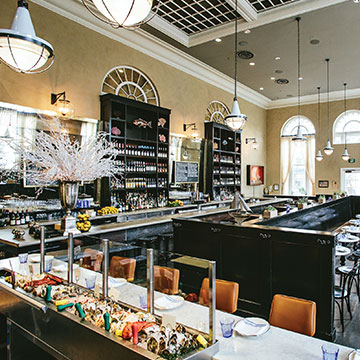 The Ordinary is a Southern seafood hall and oyster bar located in an old bank. Photo: Andrew Cebulka