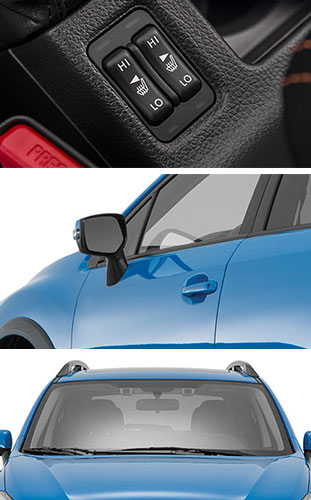 Top: Heated front seats. Middle: Heated side mirrors to prevent fogging or frosting. Bottom: Windshield wiper de-icers to fend off streaking, wiping gaps or damaging rubber wipers.
