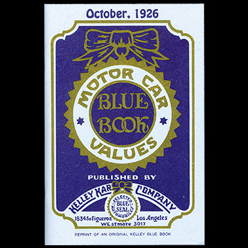 In 1926, the original Kelley Blue Book was published as the Motor Car Blue Book Values.