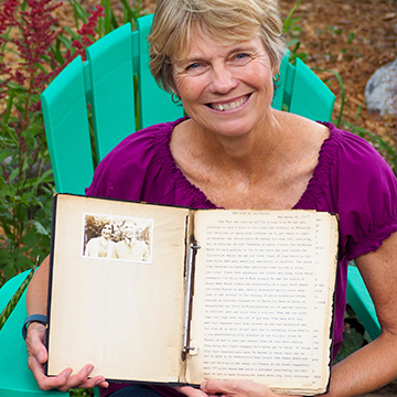Jane Hall with her grandmother's journal.