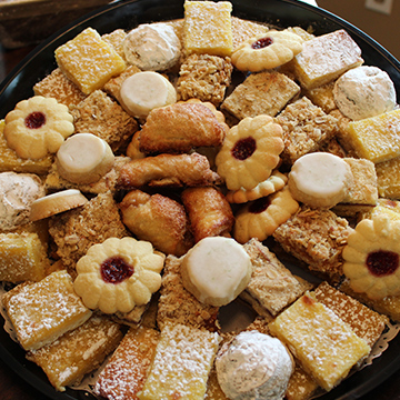 A Soups and Sweets cookie tray