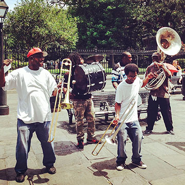 Street jazz in New Orleans' Jackson Square.